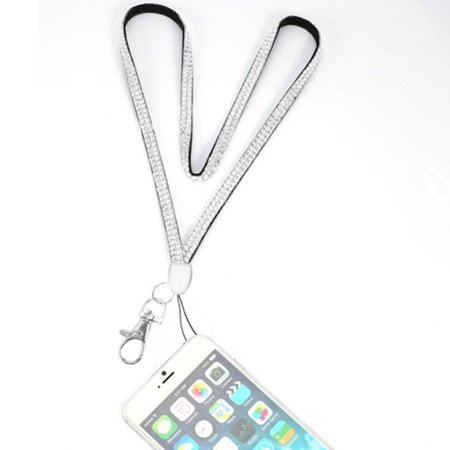 - Valor Diamante Neck Lanyard Cellphone Keychain ID Badge Card Holder Strap - Silver