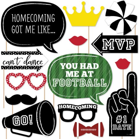 Homecoming - Football Themed School Dance Photo Booth Props Kit - 20 Count - Homecoming Float Themes