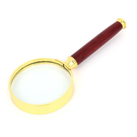 Wooden Grip 50mm Dia 10X Magnification Magnifying Glass Loupe Magnifier