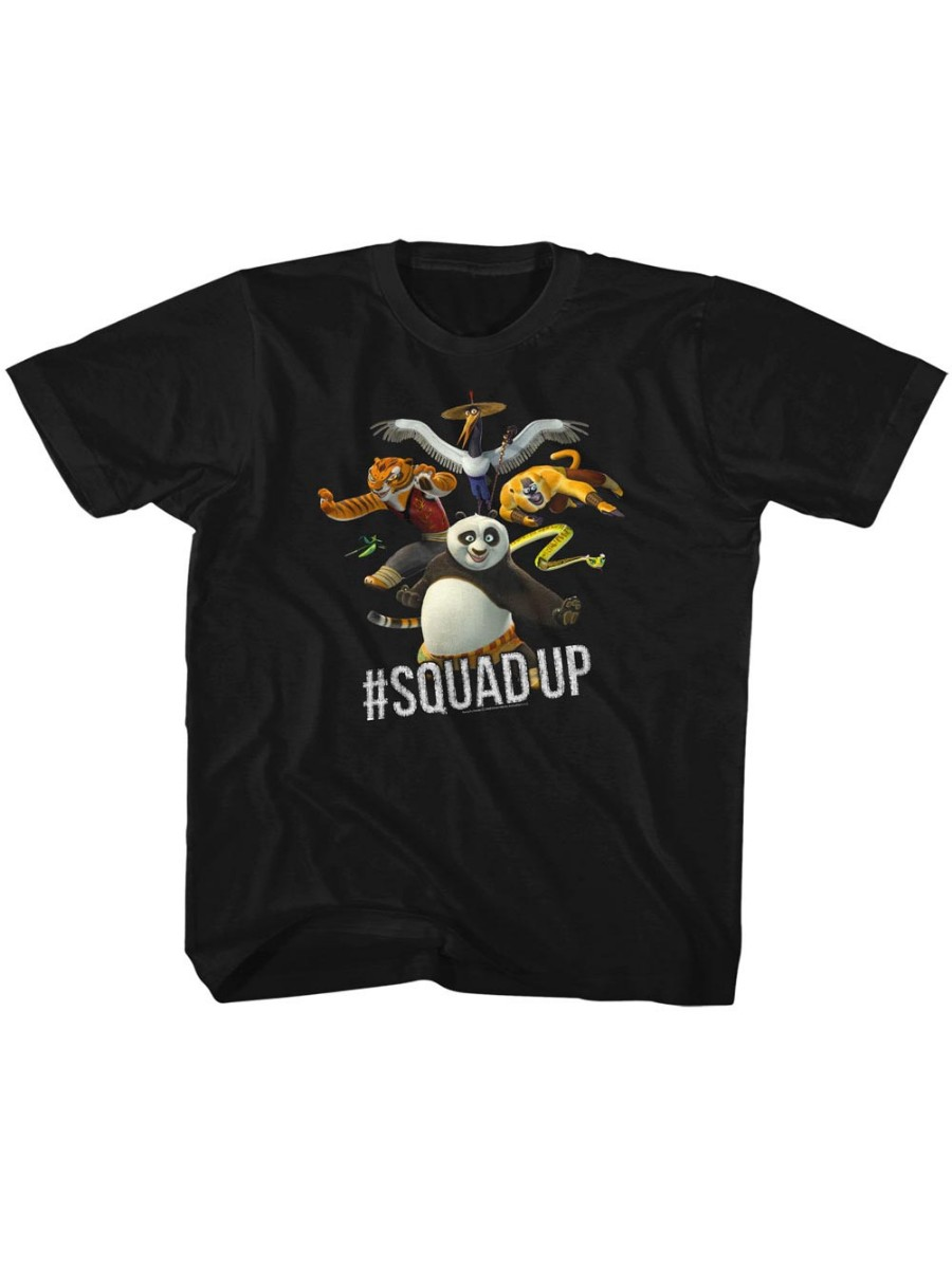 Kung Fu Panda Movie Squad Up Black Toddler Little Boys T-Shirt Tee