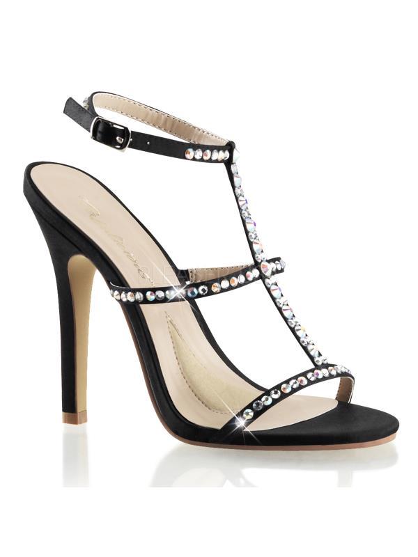 "MEL18/BSA Fabulicious Shoes 4 1/2"" Melody Blk Satin Size: 9"