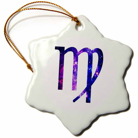 3dRose Virgo horoscope symbol - purple zodiac glyph astrological star sign, Snowflake Ornament, Porcelain,