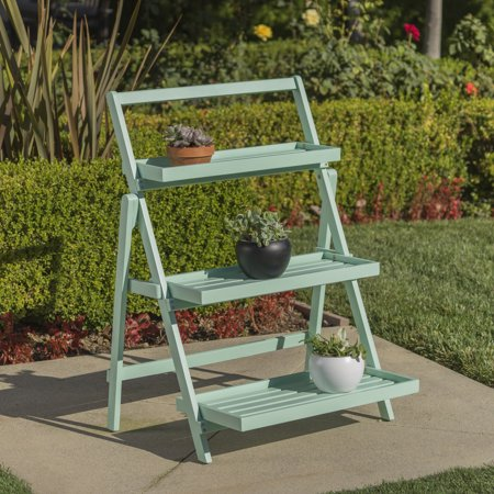 Outdoor Plant Stand - Noble House Meredity Outdoor Acacia Wood Plant Stand, Light Mint