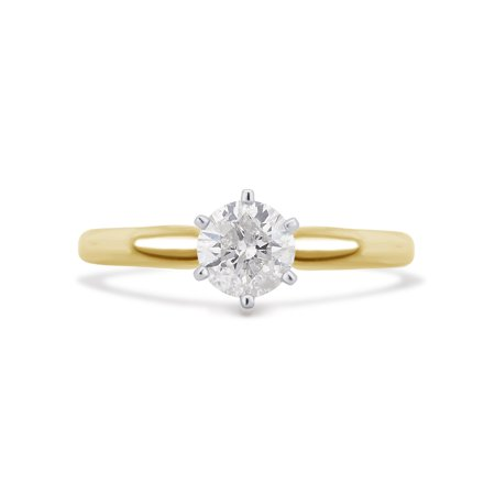 - 1/3 Cttw Round Diamond Solitaire 6 Prong Ring in 14K Yellow Gold