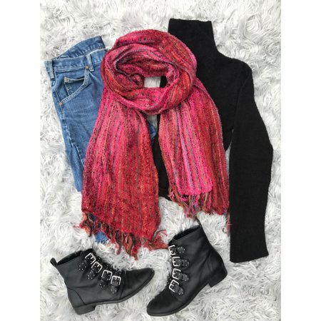 Cozy Blend - Elegant Additions Inc. Handmade Red Ombre Fringe Silk Blend Cozy Scarf (India)
