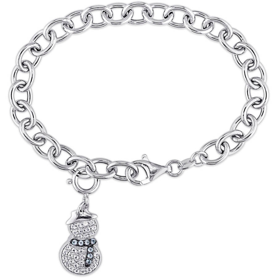"""Tangelo 5 8 Carat T.G.W. White Sapphire and Sky Blue Topaz Sterling Silver Snow Man Charm Bracelet, 7.5"""" by Tangelo"""