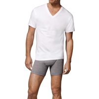 Deals on 6 Pack Hanes Mens FreshIQ ComfortSoft White V-Neck T-Shirts