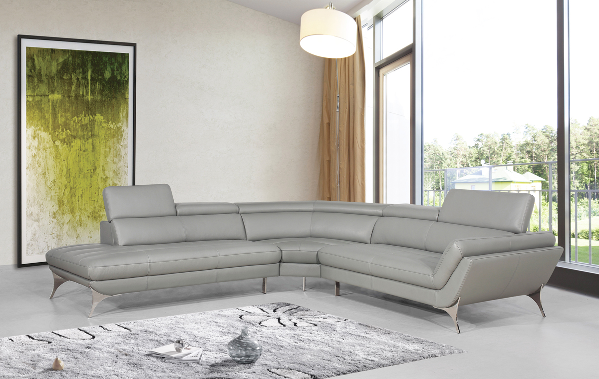 Divani Casa Graphite Modern Grey Leather Sectional  Sofa-Color:Grey,Finish:Grey