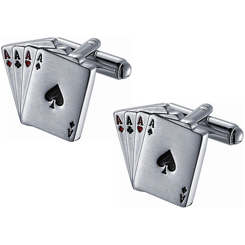 Visol Stainless Steel Four Aces Novelty Card Cufflinks
