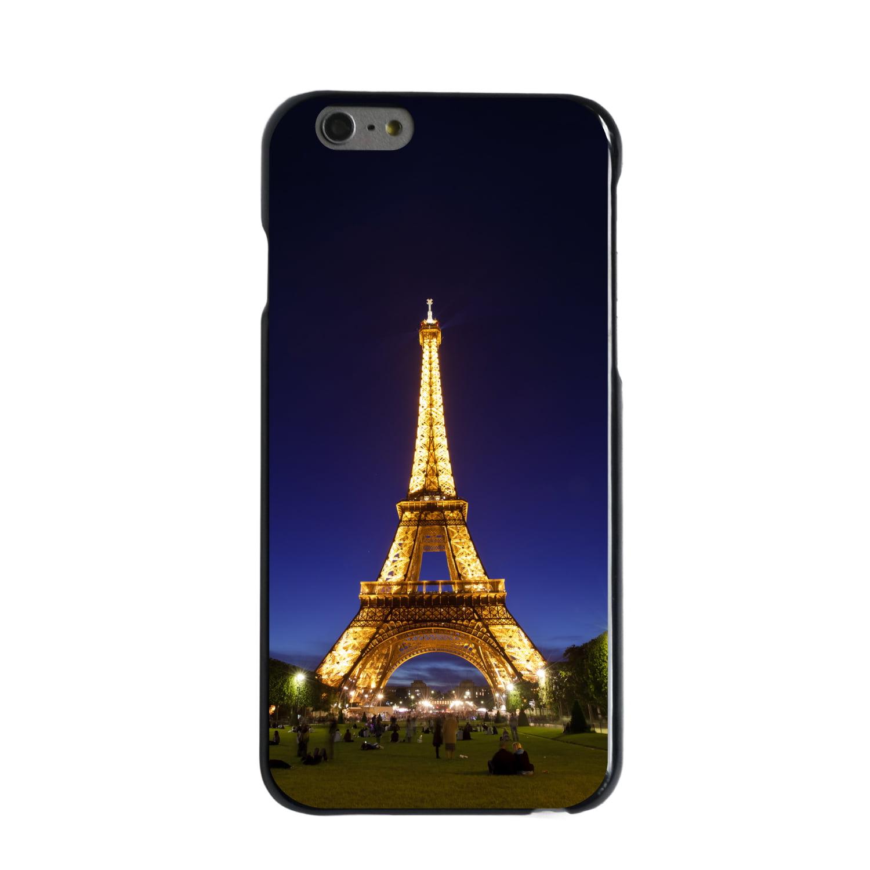 "CUSTOM Black Hard Plastic Snap-On Case for Apple iPhone 6 / 6S (4.7"" Screen) - Eiffel Tower Paris Night"