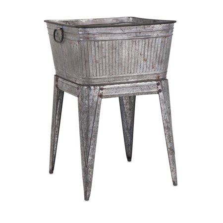 Beaumont Lane Galvanized Tub on Stand in Gray](Galvanized Tubs)