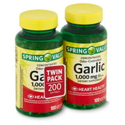 Spring Valley Concentrated Odor-Controlled Garlic Dietary Supplement, 1,000 mg, Twin Pack, 200 count
