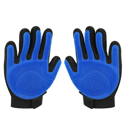 Pet Grooming Glove, Right Hand (Blue) - Gentle Deshedding Dander Hair Remover Glove Brush – Massage Mitt with Breathable Mesh Material & Silicone Tips for Long Short Fur Dogs Cats Horses