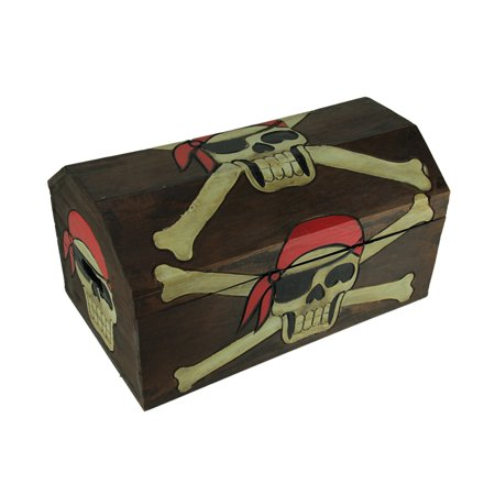 19 Inch Long Wooden Pirate Skull Treasure Chest Storage Box](Pirates Chest)
