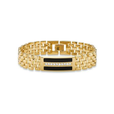 Men's .60 TCW Genuine Black Onyx and CZ Watch Band Bracelet 14k Gold-Plated 8.75