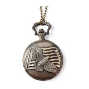 Strada Japanese Movement Water Resistant Eagle Spread Wings Pattern Pocket Watch in Brasstone with Iron Chain Fathers Day Gifts for Dad