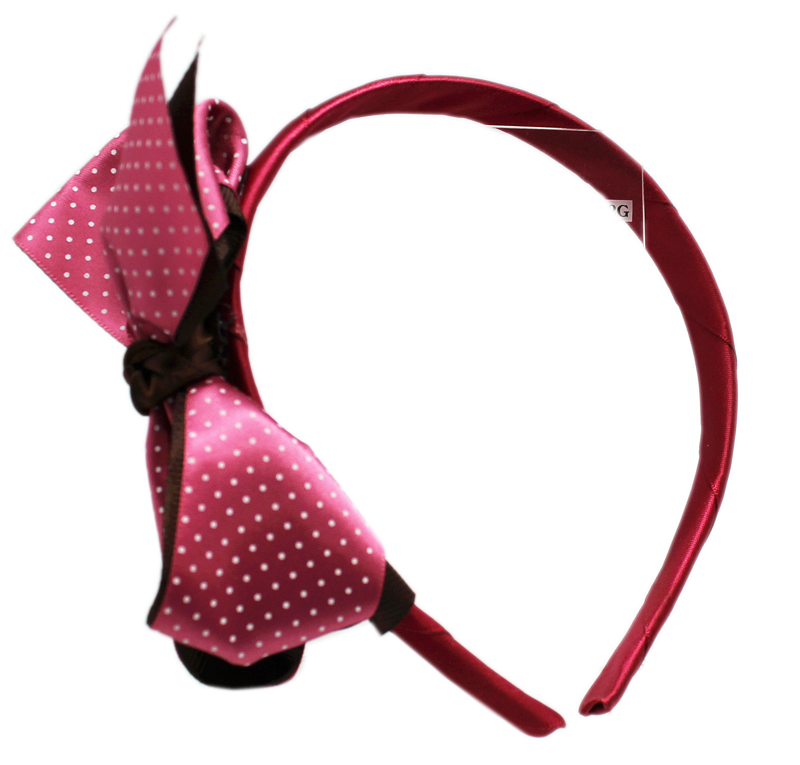 Fabric Wrapped Head Band w/Attached Magenta/Brown Bow