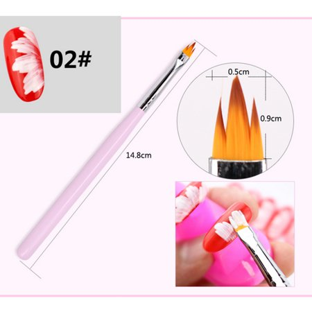 8Pcs/Set Flower Gradient Wood Painting Brush Drawing UV Gel Nail Art Pen Tools - image 8 of 11