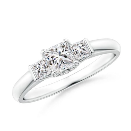 Platinum Princess Cut Diamond (April Birthstone - Classic 3 Stone Princess Cut Diamond Engagement Ring in Platinum (Weight:)