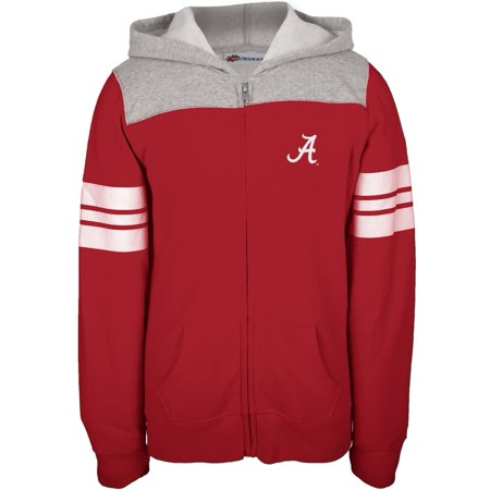 Alabama Crimson Tide - Game Day Sports Stripes Girls Youth Zip Hoodie