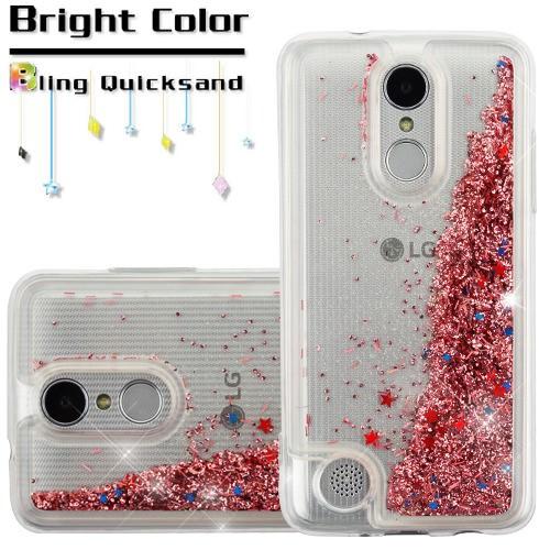 For LG Aristo 2 / LG Zone 4 (2018) / LG Tribute Dynasty / LG K8 (2018) / LG Fortune 2 Case Hybrid Quicksand Liquid Glitter TPU Phone Cover (Star & Rose Gold Quicksand Glitter)