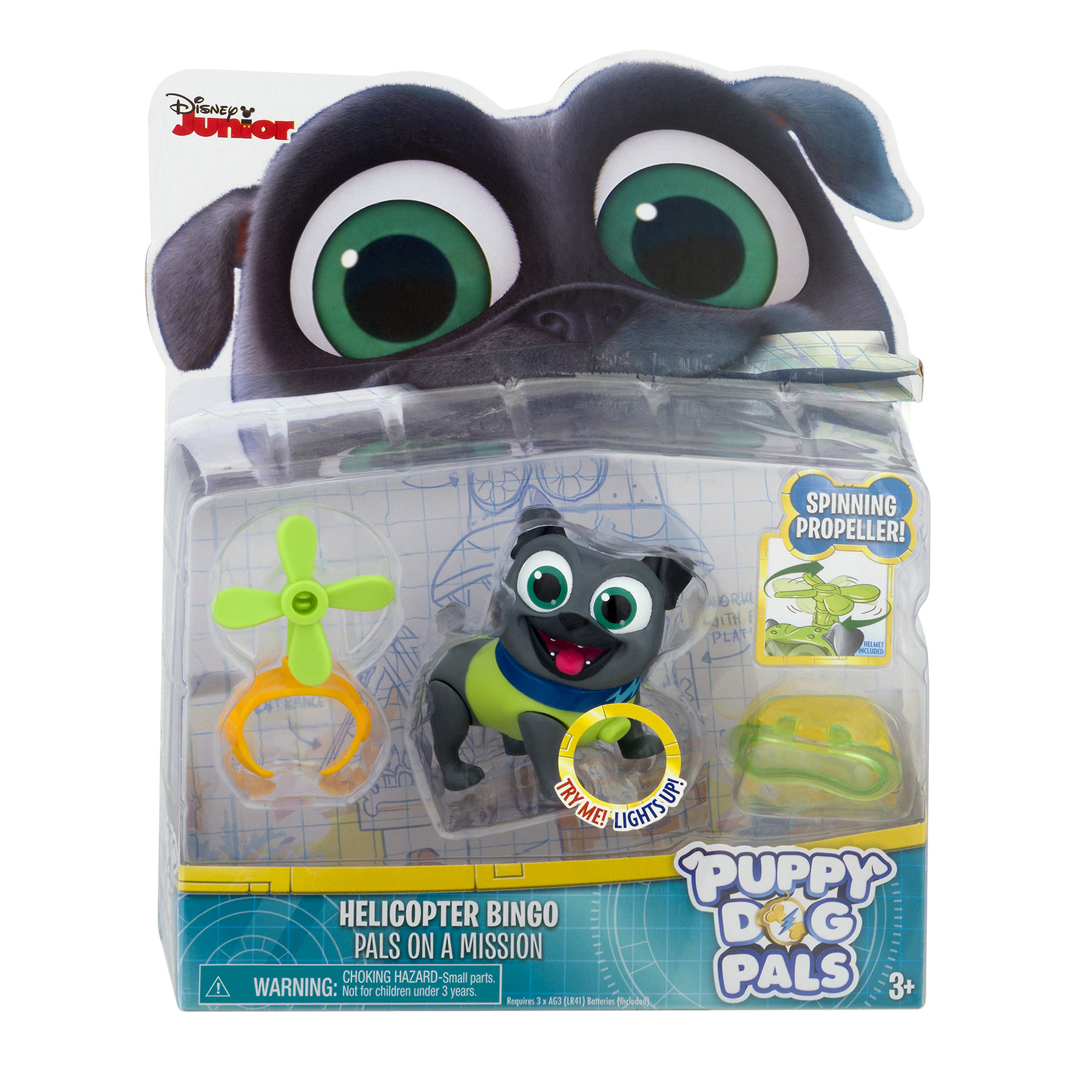 Puppy Dog Pals Light Up Pals On A Mission Bingo with Helicopter and Helmet by Just Play