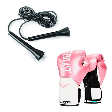 Everlast Elite Pro Boxing Gloves Size 8 Ounces, Pink and 11 Foot Speed Jump - Pink Boxing Gloves