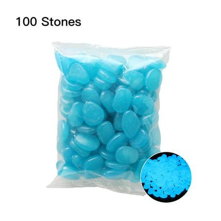 100pcs/Bag Luminous Pebbles Glow in the Dark Stones Home Fish Tank Outdoor Decor Garden Walkway