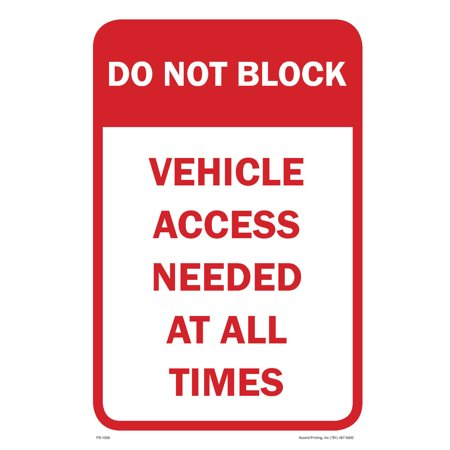 "Do Not Block Parking Sign, 12""w x 18""h, PVC Full Color"