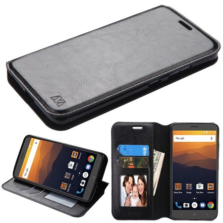 Insten MyJacket Wallet Leather Card Stand Flip Case with Tray For ZTE Max XL N9560 - Black (Bundle with USB Type C -