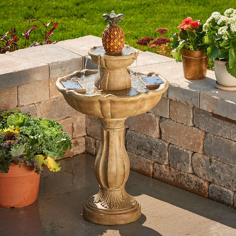 haddonfield 2tier solar bird bath fountain tuscan stone