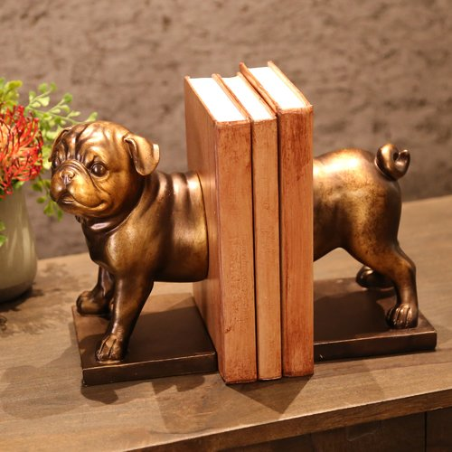 Darby Home Co Pug Dog Bookends (Set of 2)
