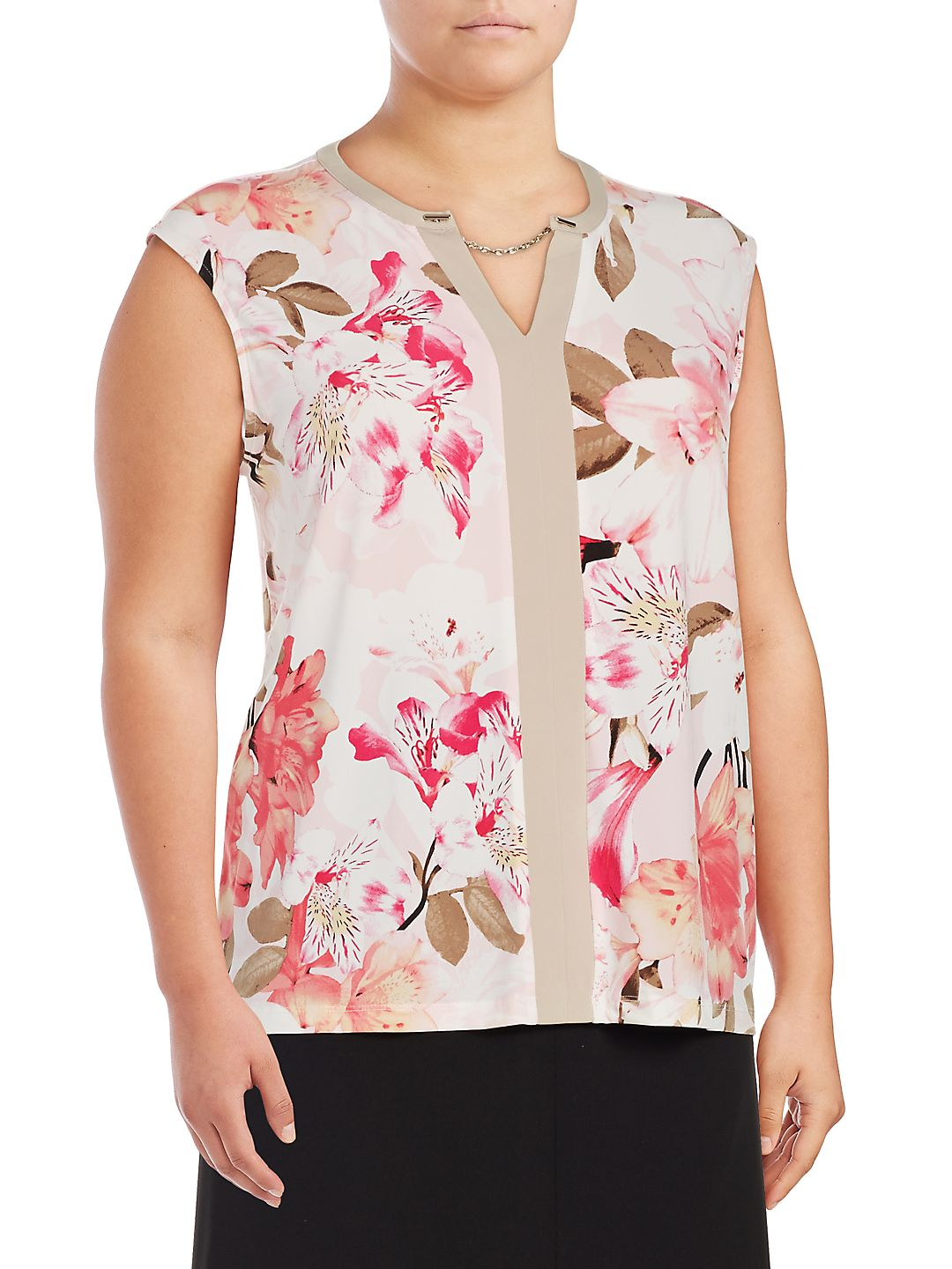 Plus Floral Splitneck Blouse