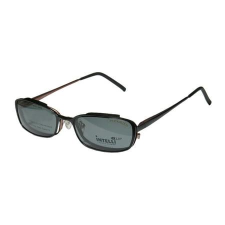 New Elite Comfortable Clipon Eyewear 733 Mens/Womens Designer Full-Rim Black / Brown Frame Demo Lenses 51-17-135 Sunglass Lens Clip-Ons Spring Hinges (733 Glasses)