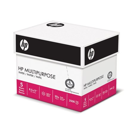 HP Paper, Multipurpose Ultra White, 20lb, 8.5 x 11, Letter, 96 Bright, 2,500 Sheets / 5 Ream