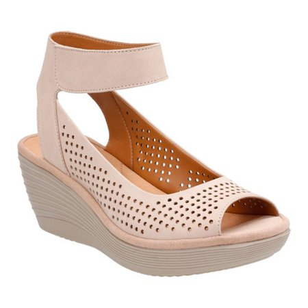 Women's Clarks Reedly Salene Wedge Ankle Strap Clarks Nubuck Sandals