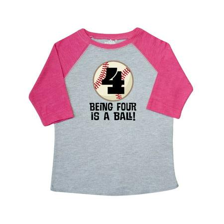 4th Birthday Baseball Boys 4 year Old Toddler T-Shirt