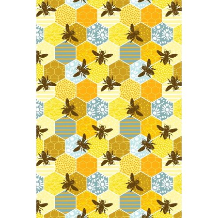Bullet Journal Notebook Honey Bees Pattern 1: 112 Page Numbered Dot Grid  Bullet Journal with Index Pages and Key Pages in Portable 6 X 9 Size