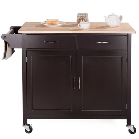Modern Rolling Kitchen Cart Island Wood Top Storage Trolley Cabinet Utility - image 5 de 9