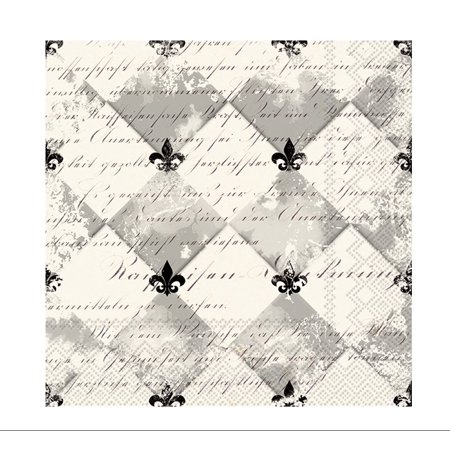 Celebrate the Home French Fleur De Lis 3-Ply Paper Cocktail Napkins, Cream/Black, (Fleur De Lis Paper)