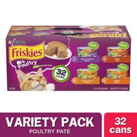 Friskies Pate Wet Cat Food Variety Pack, Poultry Favorites - (32) 5.5 oz. Cans
