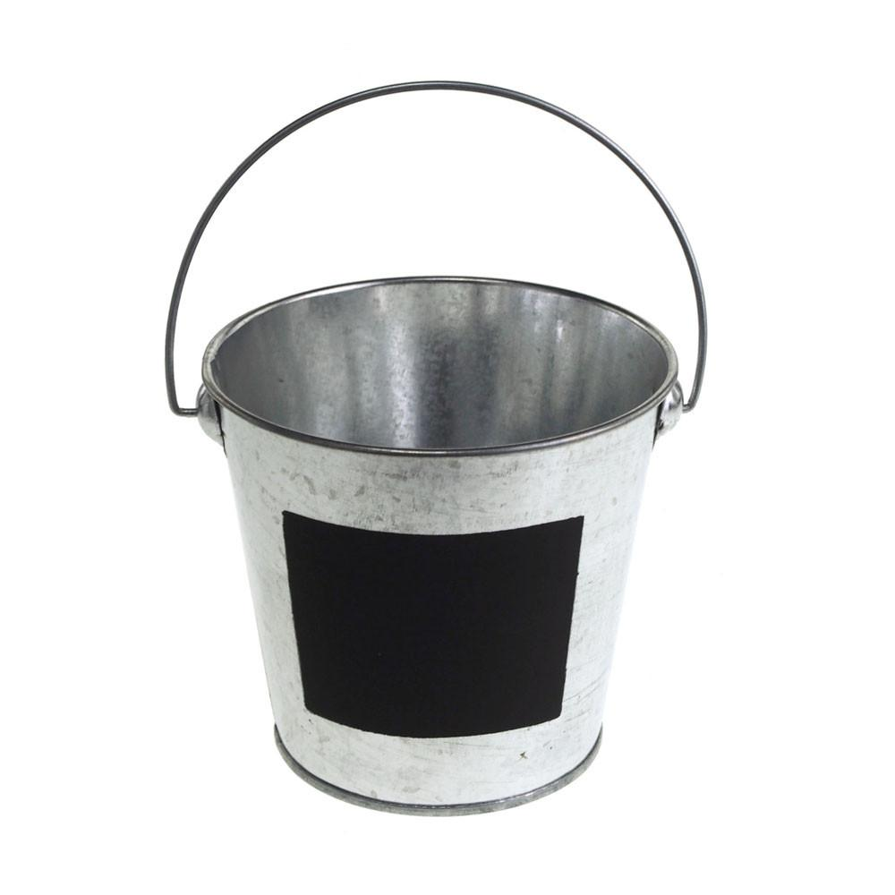Galvanized Metal Bucket with Chalkboard Label, 4-Inch, Silver by