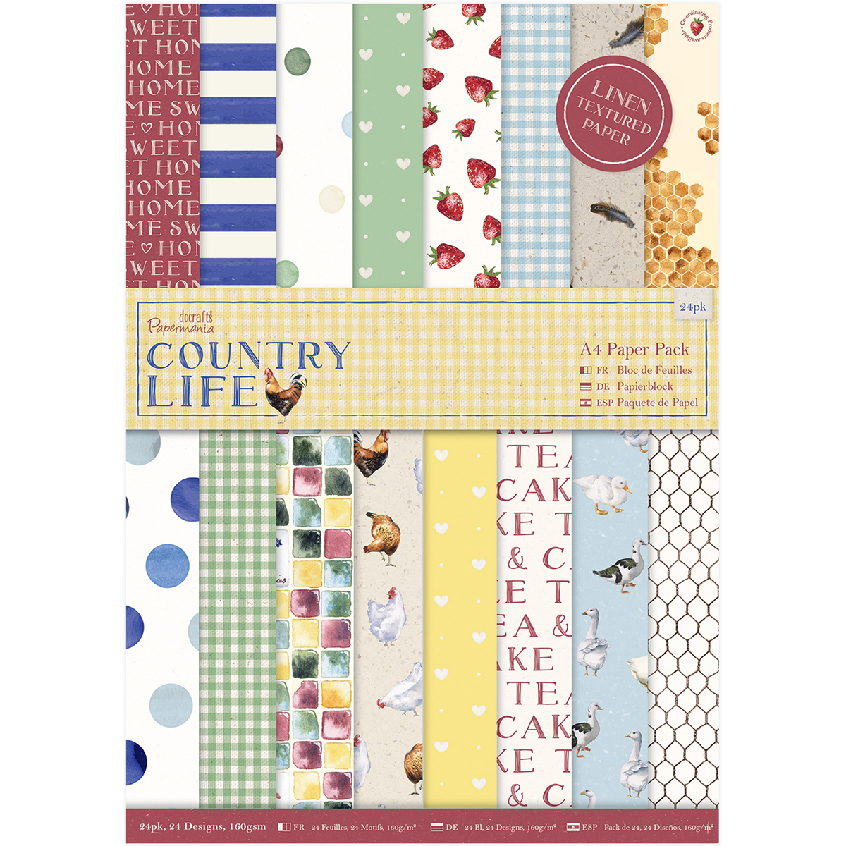 Papermania A4 Paper Pack 24/Pkg-Country Life, Linen Finish