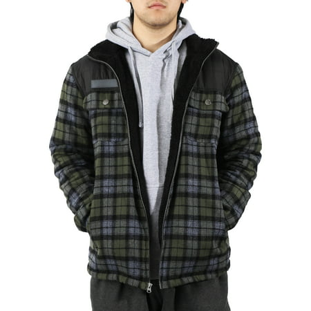 Mens Sherpa Lined Flannel Thermal Fleece Padded Cotton Plaid Zip Up (Sherpa Lined Thermal)