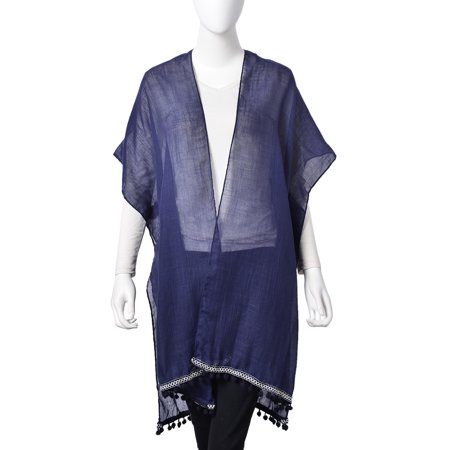 80% Rayon 20% Polyester (Navy 20% Viscose 80% Polyester Lace Kimono with Mini Pompom Lining One)