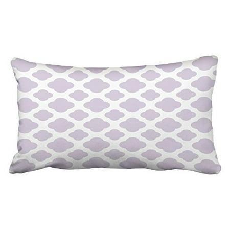 WinHome Decorative Chevron Pattern Lavender Color and White Moroccan Quatrefoil Design Pillows Classic Stripes Pattern For Decoration Pillow Case Zipper Pillowcase Cover Size 20x30 inches