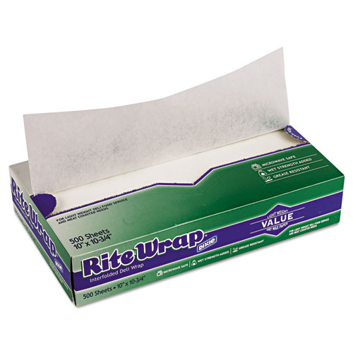 DIXIE Rite-Wrap Interfolded Lightweight Dry Waxed Sheets, 10 x 10-3/4, 12/Carton