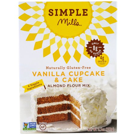 Simple Mills, Naturally Gluten-Free, Almond Flour Mix, Vanilla Cupcake & Cake , 11.5 oz (pack of 3)