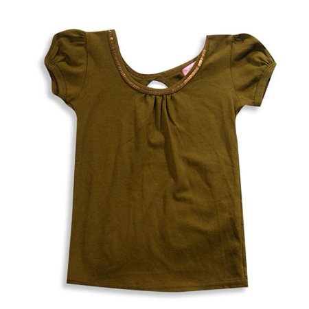 Haven Girl - Little Girls Short Sleeve Top, Cocoa Brown / 2 (Haven Girl Heart)