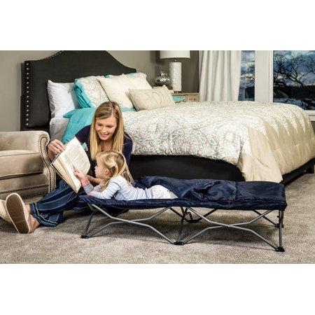 Regalo My Cot Deluxe Portable Toddler Bed, Includes Sleeping Bag, Navy 1 ()